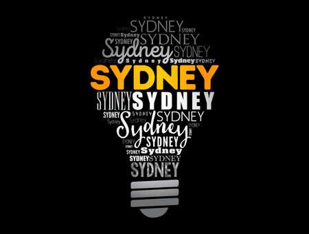 Sydney light bulb word cloud, travel concept background