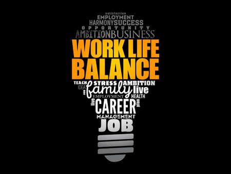 Work Life Balance light bulb word cloud collage, concept background 矢量图像