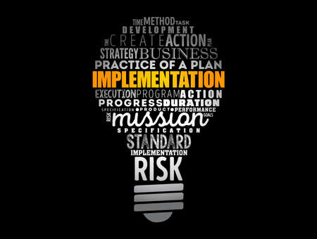 Implementation light bulb word cloud collage, business concept background