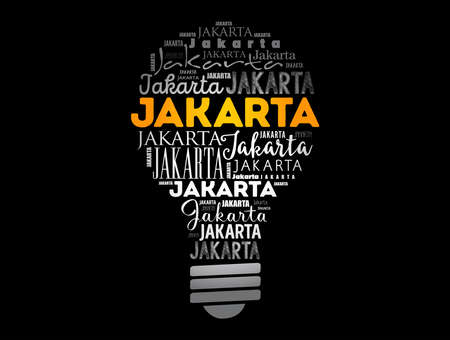 Jakarta light bulb word cloud, travel concept background