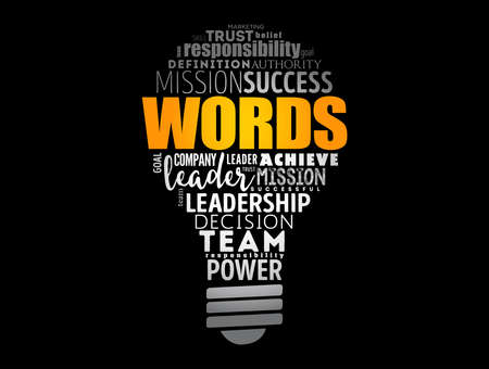 WORDS light bulb word cloud collage, business concept background