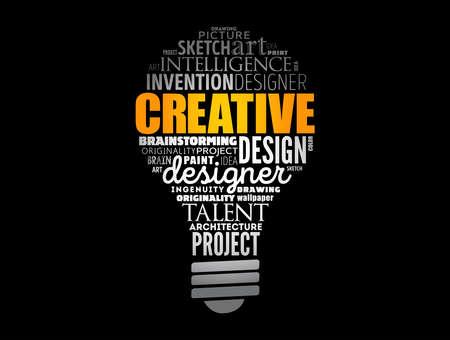 CREATIVE light bulb word cloud, creative business concept background