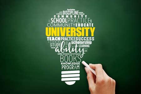 University light bulb word cloud collage, education concept background on blackboard Banque d'images