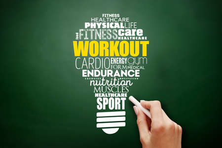 WORKOUT light bulb word cloud collage, fitness, health concept background on blackboard Фото со стока