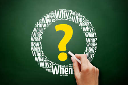 Question mark - Questions whose answers are considered basic in information gathering or problem solving, word cloud background on blackboard 스톡 콘텐츠