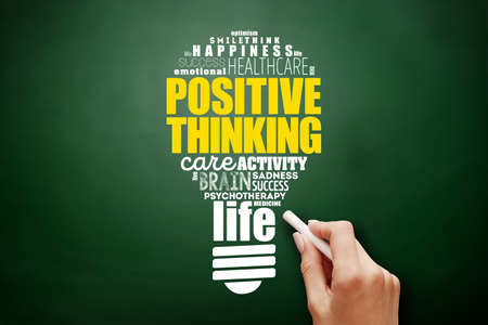 Positive thinking light bulb word cloud collage, health concept background on blackboard 스톡 콘텐츠