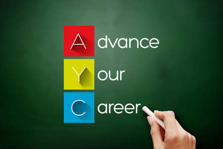 AYC - Advance Your Career acronym, business concept background on blackboard