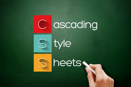 CSS - Cascading Style Sheets acronym, technology concept background on blackboard