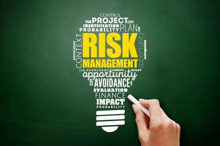 Risk Management light bulb word cloud, business concept background on blackboard