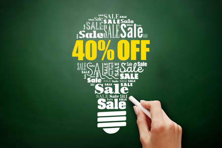 40% OFF sale bulb word cloud collage, business concept on blackboard 스톡 콘텐츠