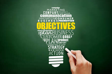 Objectives light bulb word cloud collage, business concept background on blackboard