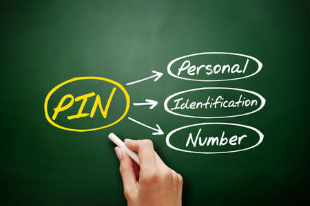 PIN - Personal Identification Number acronym, technology concept background on blackboard