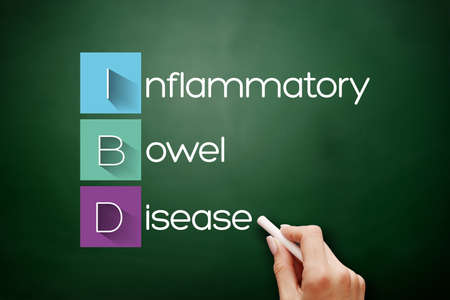 IBD - Inflammatory Bowel Disease acronym, medical concept background on blackboard 스톡 콘텐츠