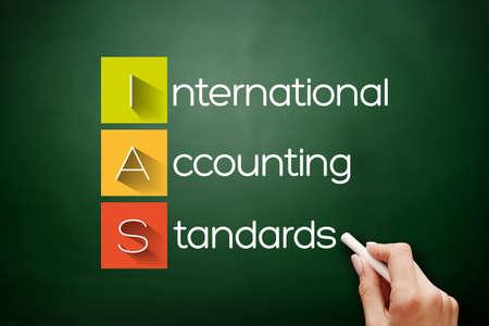 IAS - International Accounting Standards acronym, business concept background on blackboard