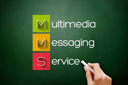 MMS - Multimedia Messaging Service acronym, technology concept background on blackboard
