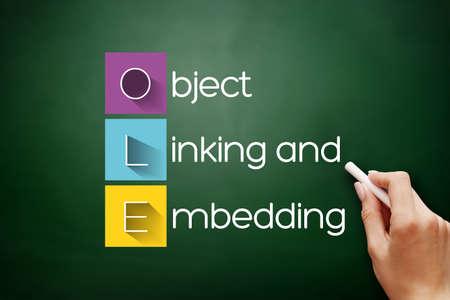 OLE - Object Linking and Embedding acronym, technology concept background on blackboard 스톡 콘텐츠