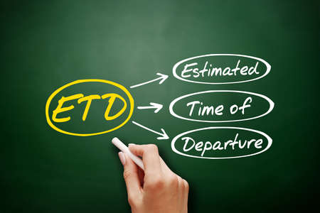 ETD - Estimated Time of Departure acronym, concept background on blackboard 免版税图像