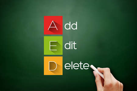 AED - Add, Edit and Delete, acronym business concept background on blackboard