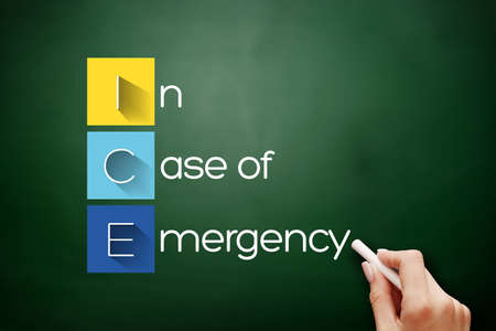 ICE - In Case of Emergency acronym, health concept background on blackboard