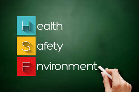 HSE - Health Safety Environment acronym, concept background on blackboard