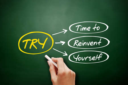 TRY - Time to Reinvent Yourself acronym, business concept background on blackboard