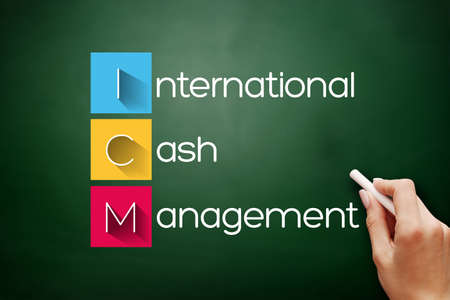 ICM - International Cash Management acronym, business concept background on blackboard