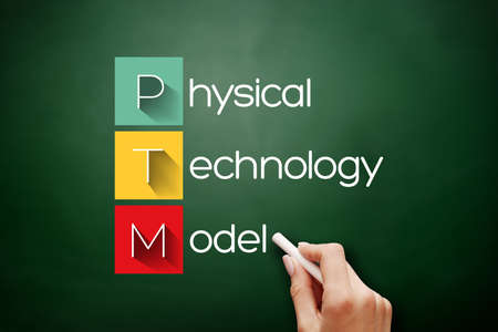PTM - Physical Technology Model acronym, concept background on blackboard
