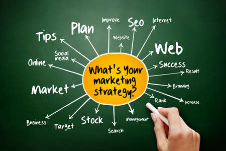 What's Your Marketing Strategy mind map, business concept on blackboard for presentations and reports