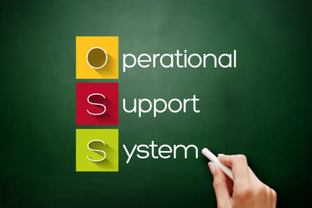 OSS - Operational support system acronym, technology concept background on blackboard