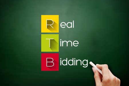 RTB - Real-time bidding acronym, business concept background on blackboard