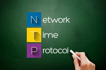 NTP - Network Time Protocol acronym, technology concept background on blackboard 免版税图像