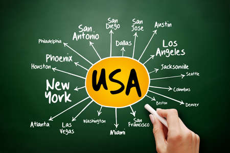 USA cities mind map flowchart, travel business concept on blackboard for presentations and reports