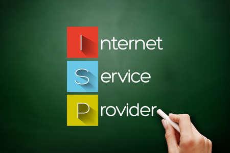 ISP - Internet Service Provider, acronym technology concept on blackboard 스톡 콘텐츠