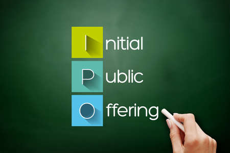 IPO - Initial Public Offering acronym, business concept background on blackboard
