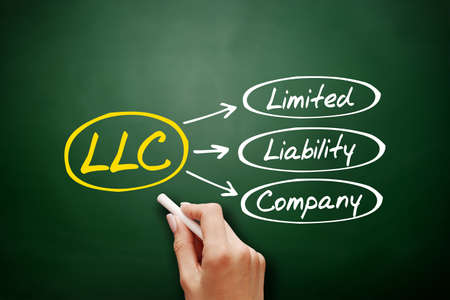 Hand drawn LLC - Limited Liability Company, acronym business concept on blackboard