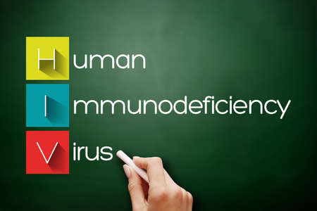 HIV - Human Immunodeficiency Virus, acronym health concept background on blackboard 스톡 콘텐츠