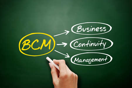 Hand drawn BCM - Business Continuity Management, acronym business concept on blackboard