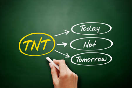 TNT - Today Not Tomorrow acronym, business concept background on blackboard 스톡 콘텐츠