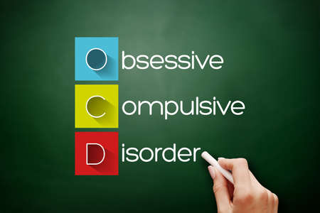 OCD - Obsessive Compulsive Disorder, acronym health concept on blackboard 스톡 콘텐츠