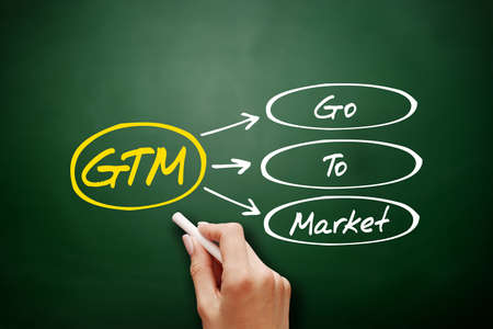 Hand drawn GTM - Go To Market, acronym business concept on blackboard