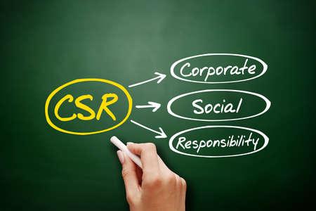 Hand drawn Corporate Social Responsibility (CSR), business concept acronym on blackboard