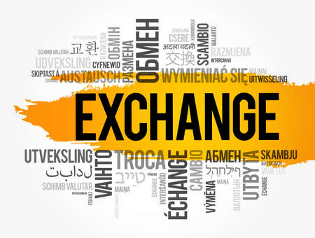 Exchange word cloud in different languages, business concept background
