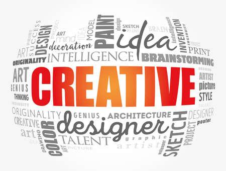CREATIVE word cloud, creative business concept background Ilustracja