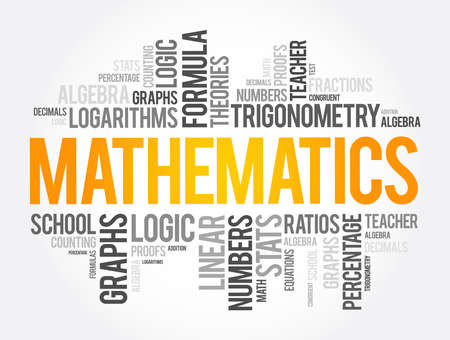 Mathematics word cloud collage, education concept background 向量圖像