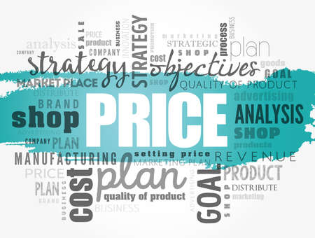 PRICE word cloud collage, business concept background
