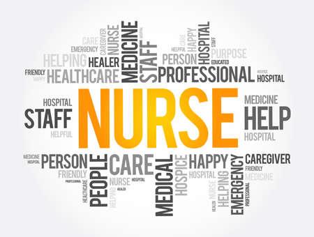 Nurse word cloud collage, health concept background