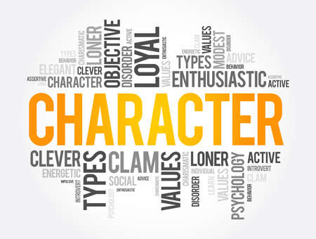 CHARACTER word cloud collage, social concept background