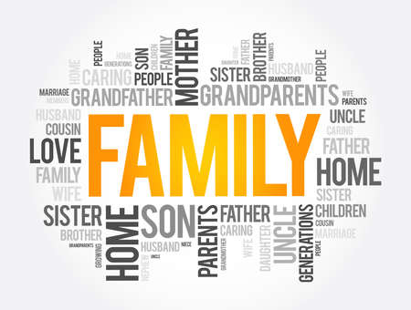 Family word cloud collage, social concept background