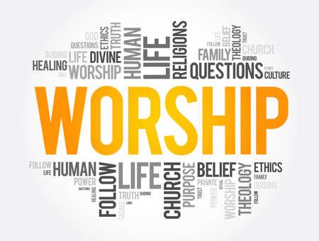 Worship word cloud collage, social concept background Vektorgrafik