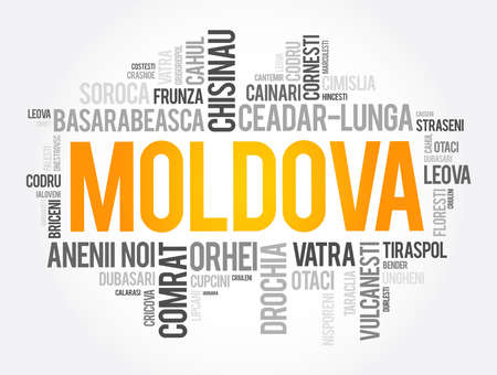 List of cities in Moldova word cloud collage, education and travel concept background